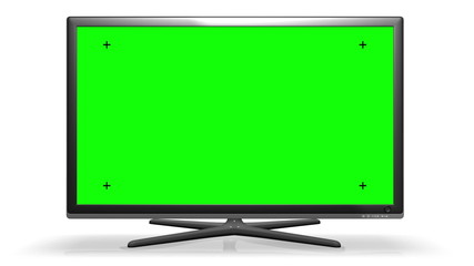 Flat TV Screen - Green screen + Track marks + Alpha channel