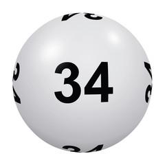 Loto, boule blanche numéro 34