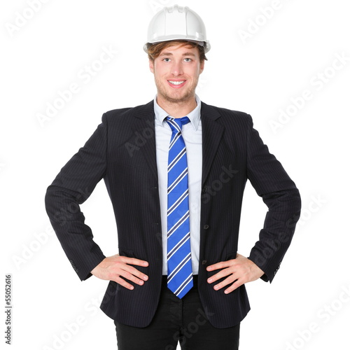 Engineer or architect business man in suit