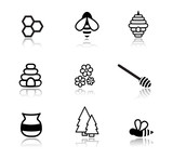 Honey and bees black vector icons