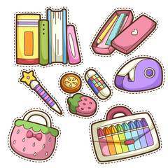 school set. set of different school items