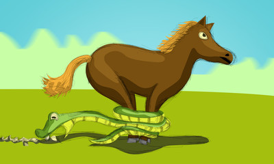 horse and snake trying to stop