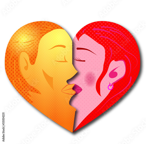 Man Woman Kissing Heart Shape