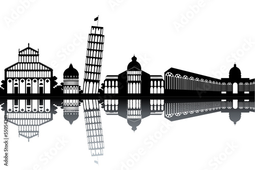 Pisa skyline - black and white vector illustration