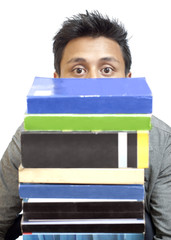 Peeping Through the Stack of Books