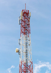 Telecommunications tower with satellite dish , Bule sky Backgrou