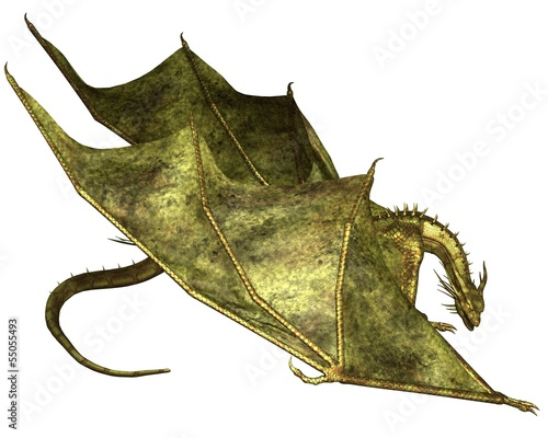 Green Scaled Dragon Crawling