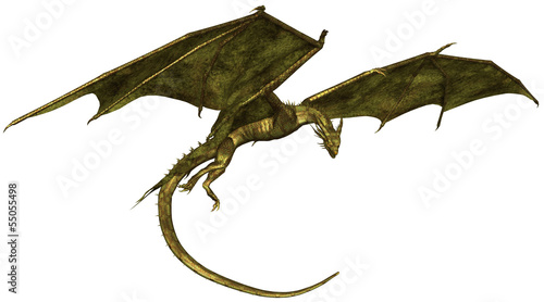 canvas print picture Green Scaled Dragon in Flight