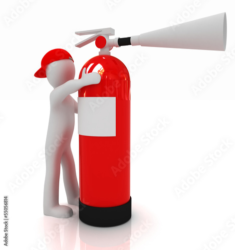 3d man with red fire extinguisher