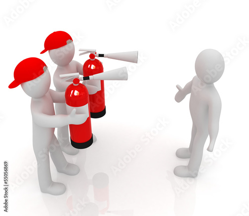 3d mans with red fire extinguisher.Concept of confrontation