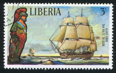 Figurehead and sailing ship Ajax