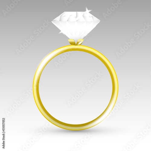 Vector gold ring with diamond