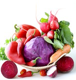 assorted  red vegetable (tomato, pepper, cabbage, radishes)