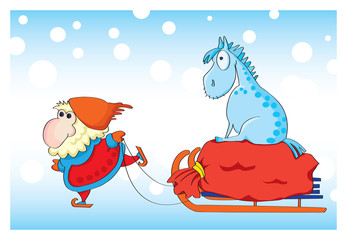 Santa Claus and blue horse 2014