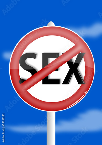 Ban sex on a blue background