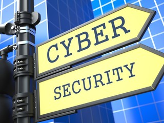 Business Concept. Cyber Security Roadsign.