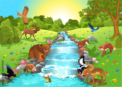 animals drinking water from the brook