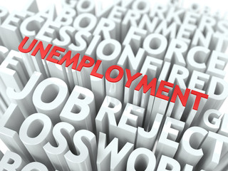 Unemployment. The Wordcloud Concept.