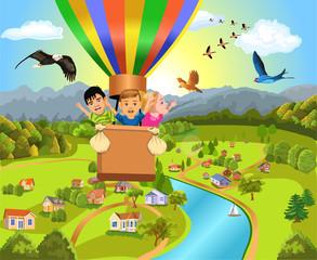 children flying in a hot air balloon