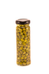 marinated potted glass jar with capers isolated on white