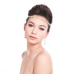 Bridal Make up and Hair Style in studio shot.