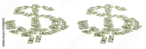 Dollar sign made from Dollar bills - with and without DOF