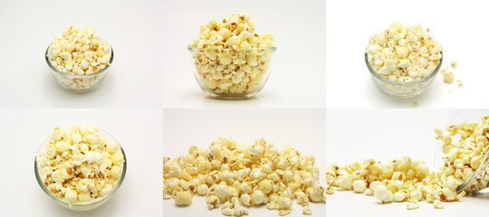 set of sweet popcorn on the white background