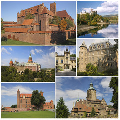 Collage of the most famous castles in Poland