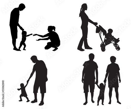 silhouettes of families with children