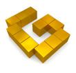 letter G cubic golden