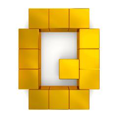 letter Q cubic golden