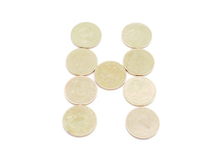 Letters of coins on a white background