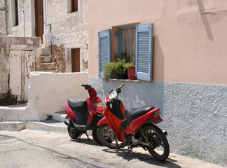 Scooters and Blue Greek Window Shutters