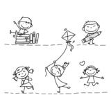 set of hand drawing cartoon happy kids