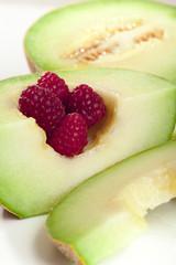 melon with raspberry