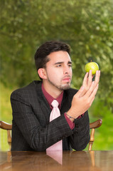 Modern businessman with apple