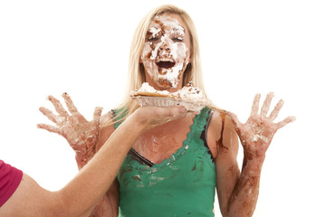 Woman just got pie in face
