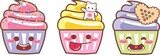 CUPCAKE KAWAII TRI 04 - GRANULADO, CAT, CRACKER