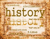 concept of history on old paper background with ornaments poster