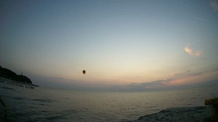 Flying lanterns into the sky