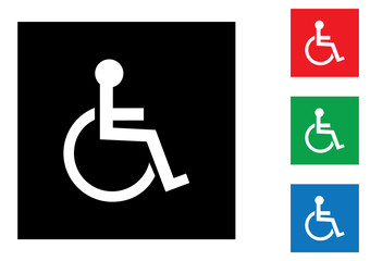 Wheelchair handicapped symbol icons