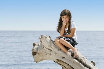 Niña sentada en un tronco a orilla de una playa