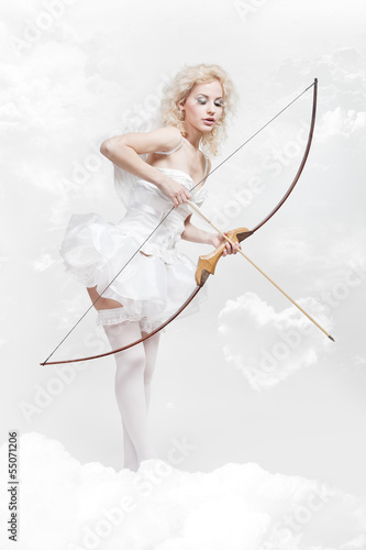 young blond woman in angel costume