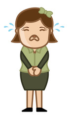 Crying Female - Business Cartoon Character Vector