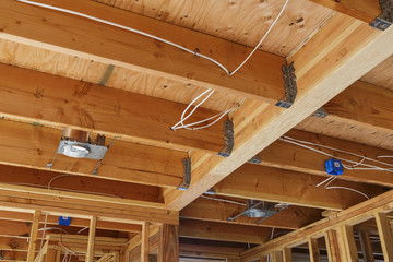 New home construction lights and ceiling