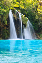 Plitvice Park Waterfall in Croatia, UNESCO World Heritage site
