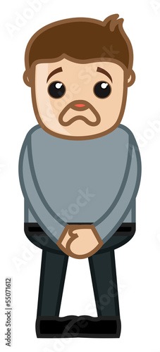 Scared Man - Business Cartoon Character Vector