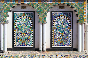 Traditional Arabic Mosaic in Tunisia (Medina). Painted tiles. Co