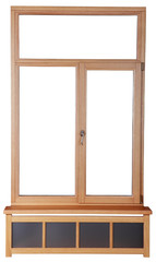 Wooden windows with double glazing.  French windows with wooden