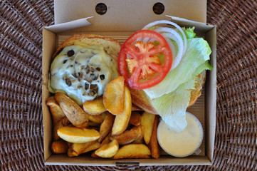 takeaway burger with fries